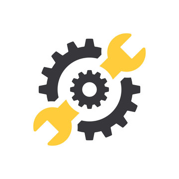 Repair icon. Wrench and gears. Vector Illustration