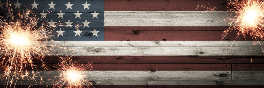 Old Vintage Wooden American Flag Background With Sparklers - Independence Day Concept