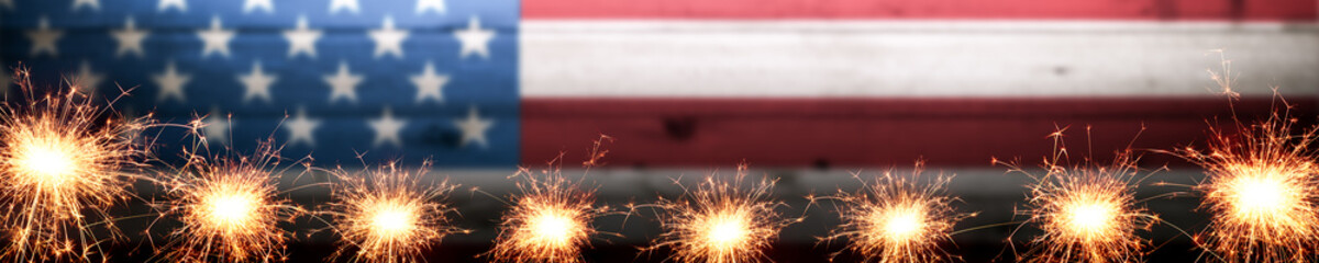 Banner Of Vintage Wooden American Flag Background With Sparklers - Independence Day Concept