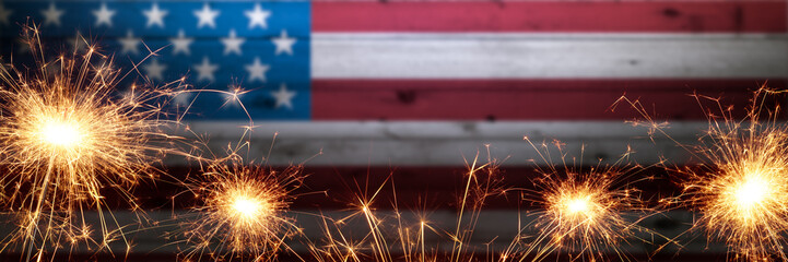 Dark Vintage Wooden American Flag Background With Sparklers - Independence Day Concept