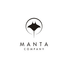 Silhouette of Tropical Black Manta Ray logo design