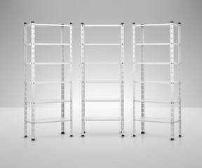 rack 3d image. 3D model metal shelves.