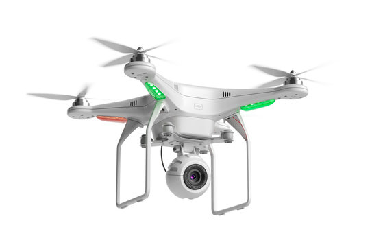 Flying quadcopter drone with camera 3d
