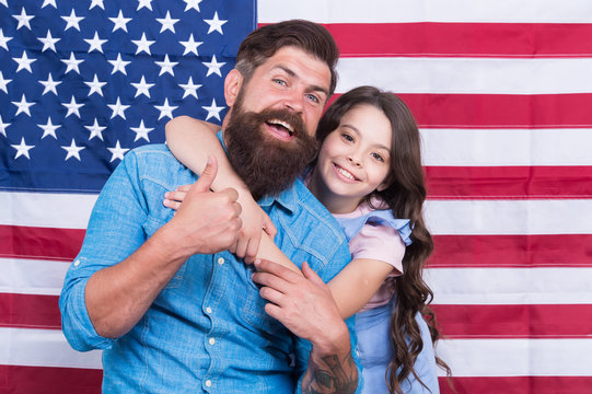 Life, liberty and the pursuit of happiness. Happy family celebrating independence day on american flag background. Happiness day. Happiness and americal ideals. Pursuing happiness and following dream