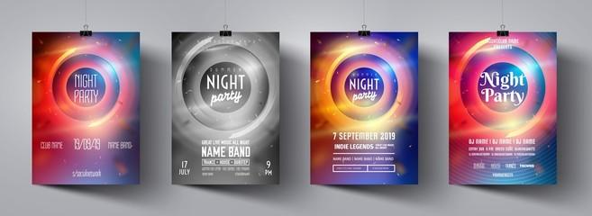 Night party poster set. Festive banner concept. Discotheque flyer set. Vector modern festive leaflet. Minimal brochure layout. Vector illustration. Poster advertising design. Night party flyer.