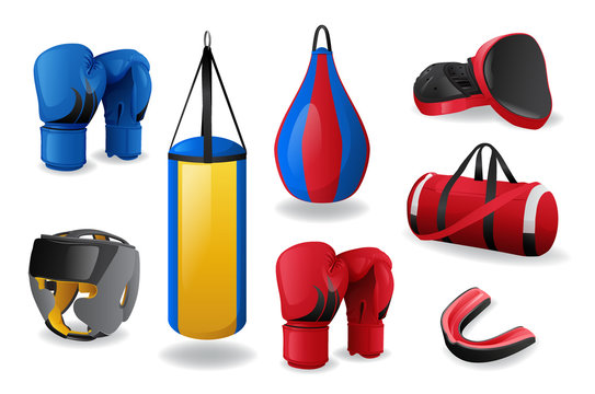 Boxing equipment set isolated, sport fight, MMA concept