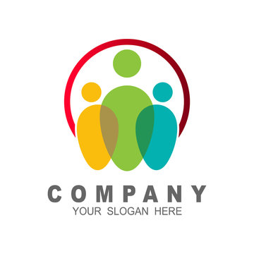 Colorful people and world logo design template, charity symbol