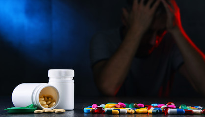 Drugs and the figure of a addicted man