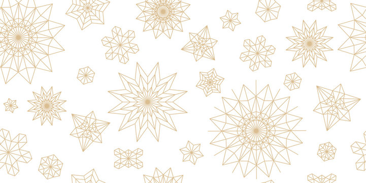 Abstract New Year pattern. Golden christmas snowflake on white background. Seamless ornament for decor, wallpaper, gift paper and design of New Year's souvenirs