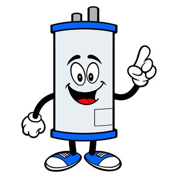 Water Heater Pointing - A cartoon illustration of a Water Heater Mascot pointing.