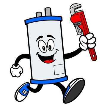 Water Heater Running with a Pipe Wrench - A cartoon illustration of a Water Heater Mascot running with a Pipe Wrench.