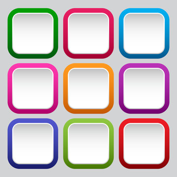 Set of square white buttons with colorful borders. Vector illustration
