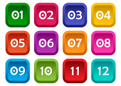 Colorful set of square buttons with numbers from 01 to 12. Vector illustration
