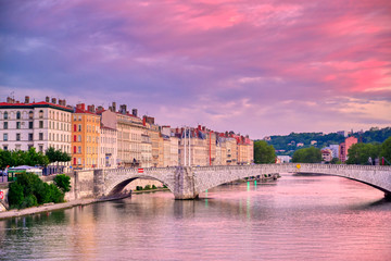 Aluminium Prints Candy pink A view of Lyon, France along the Saône river at sunset.