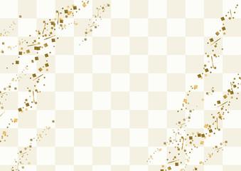 白い市松模様と金粉の背景