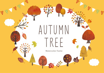 秋の木と葉のイベントフレーム水彩 Wall mural