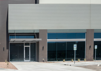 Entrance to new commercial business facade