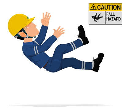 An industrial worker is falling from high level.