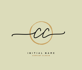 C CC Beauty vector initial logo, handwriting logo of initial signature, wedding, fashion, jewerly, boutique, floral and botanical with creative template for any company or business.