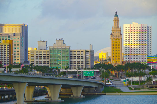 View onto Freedom Tower and Marlins Park stadium in background in Miami