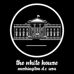 Circle Icon white house. vector illustration