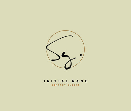 S G SG Beauty vector initial logo, handwriting logo of initial signature, wedding, fashion, jewerly, boutique, floral and botanical with creative template for any company or business.