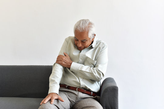 Injury senior asian man from fall accident, Elbow arm pain and joint disease in old man, Elderly health problems concept.