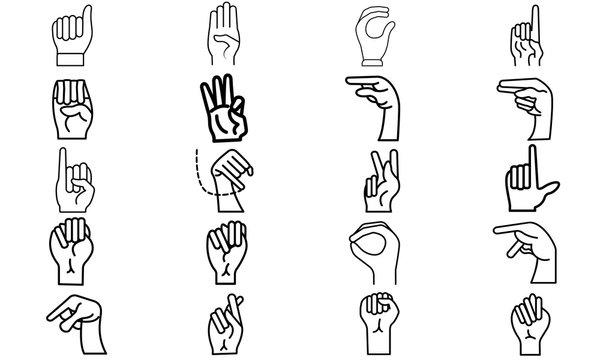 Hand Drawn Sketch of Finger Spelling The Alphabet in American Sign Language Isolated on white Background.