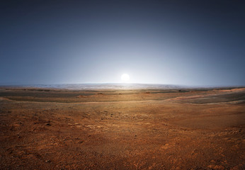 Sunset on planet Mars. Scenic desert scene on the red planet  Elements of this image furnished by NASA.