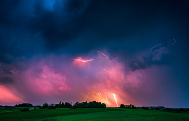 CLose up with lightning with dramatic clouds composite image . Night thunder-storm