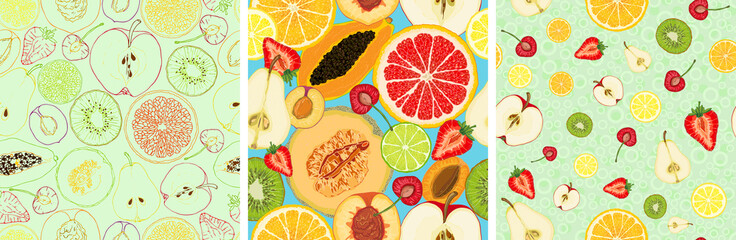 Set of vector seamless pattern with fruit slices. Apple, pear, peach, apricot, plum, cherry, kiwi, papaya, orange, lemon, lime, grapefruit, melon, strawberry on a blue background