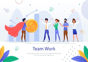 Successful Company Teamwork Flat Vector Poster
