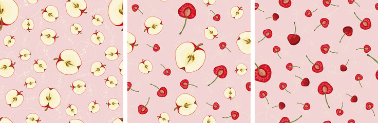 Set of vector seamless pattern with fruit slices. Cherries and apples on a polka dot pink background