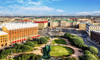 Russia, Saint Petersburg Aerial View from Saint Isaac's Cathedral in of the city Fototapete