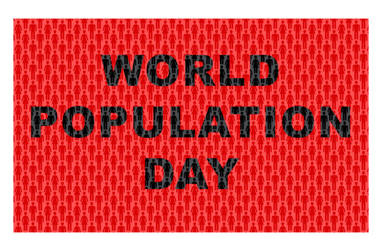 World population day - Seamless human pattern graphics with text.