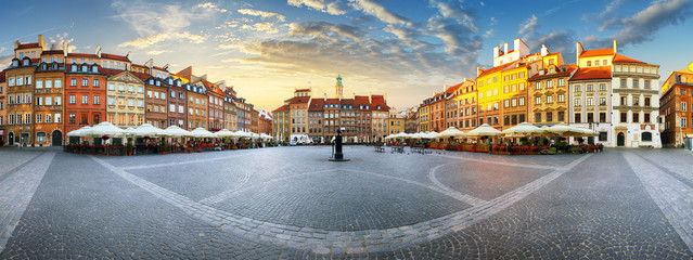 Panorama of Warsaw odl town square at sunset Wall mural