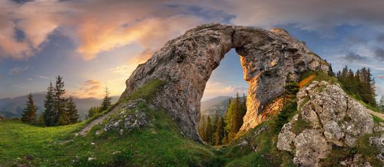 Fototapeta Mountain landscape with big rock at sunset - Low Tatras, Slovakia obraz