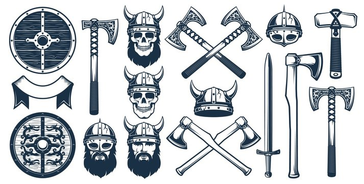 Viking weapon design elements for heraldic logo. Warrior head in a viking helmet. Vector illustration in stamp style.