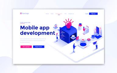 Wall Mural - Flat Modern design of website template - Mobile app development