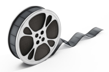 Film reel isolated on white background. 3D illustration