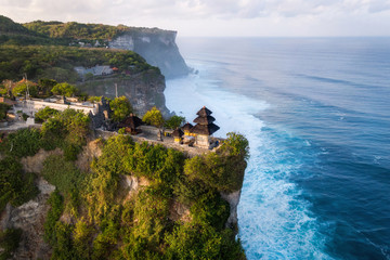 Bali, Indonesia, Aerial View of Uluwatu Temple at Sunrise