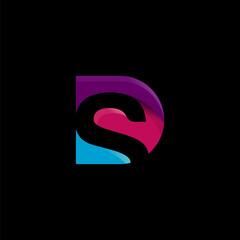 SD logo initial colorful monogram