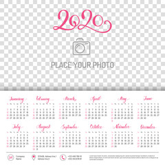 Wall calendar for 2020 year with place for photo