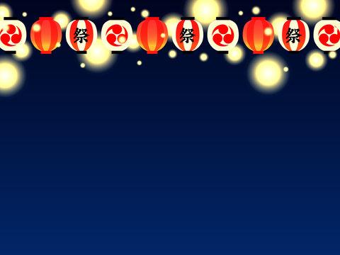 日本の夏祭りの提灯のイラスト背景