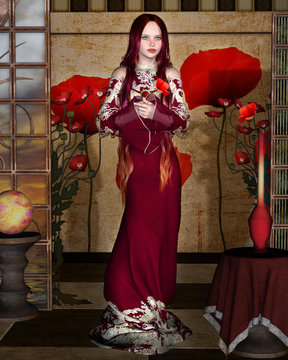 Enchanting girl with poppies in a room decorated in an art noveau style – 3D illustration