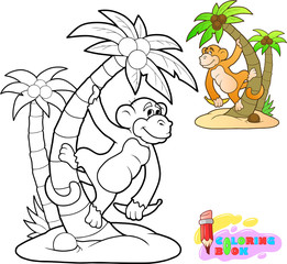 little cartoon cute monkey coloring book funny illustration