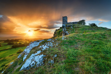 Wall Mural - Stormy Sunset over Brentor on Dartmoor