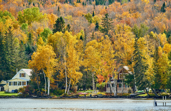 Rangeley Lake at autumn, Oquossoc, Maine, USA.