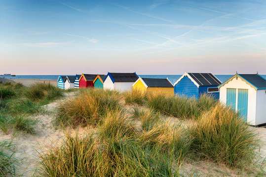 Beach huts in the sand dunes at Southwold