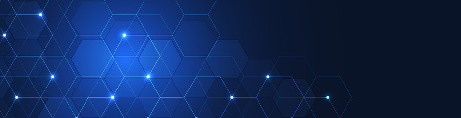 Website header or banner design with hexagons pattern. Geometric abstract background with simple hexagonal elements. Medical, technology or science design.